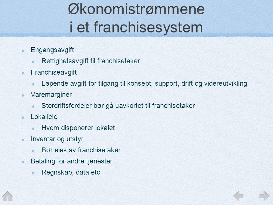 Økonomistrømmene i et franchisesystem Engangsavgift Rettighetsavgift til franchisetaker Franchiseavgift Løpende avgift for tilgang til konsept, suppor