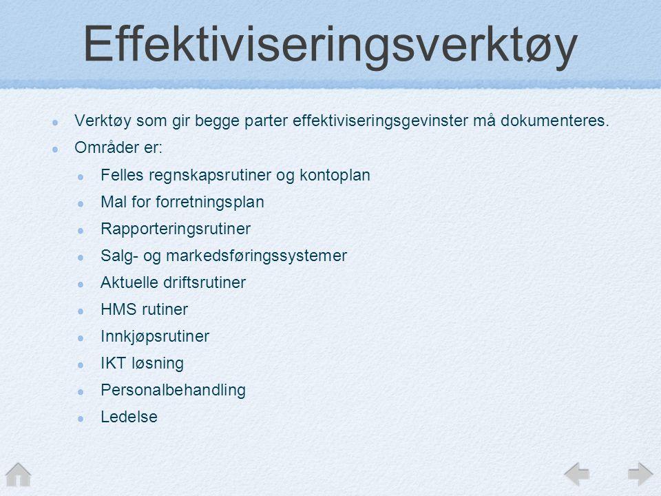 Effektiviseringsverktøy Verktøy som gir begge parter effektiviseringsgevinster må dokumenteres. Områder er: Felles regnskapsrutiner og kontoplan Mal f