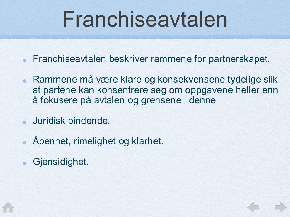 Franchiseavtalen Franchiseavtalen beskriver rammene for partnerskapet. Rammene må være klare og konsekvensene tydelige slik at partene kan konsentrere