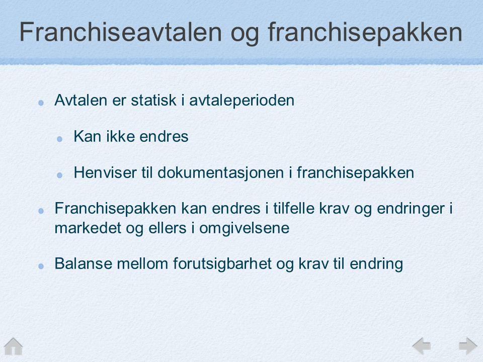 Franchiseavtalen og franchisepakken Avtalen er statisk i avtaleperioden Kan ikke endres Henviser til dokumentasjonen i franchisepakken Franchisepakken