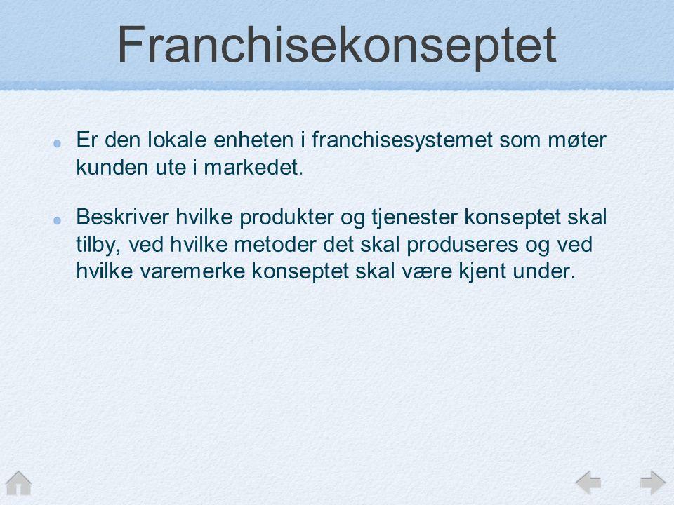 Franchisekonseptet Er den lokale enheten i franchisesystemet som møter kunden ute i markedet. Beskriver hvilke produkter og tjenester konseptet skal t