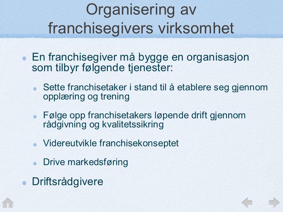Organisering av franchisegivers virksomhet En franchisegiver må bygge en organisasjon som tilbyr følgende tjenester: Sette franchisetaker i stand til