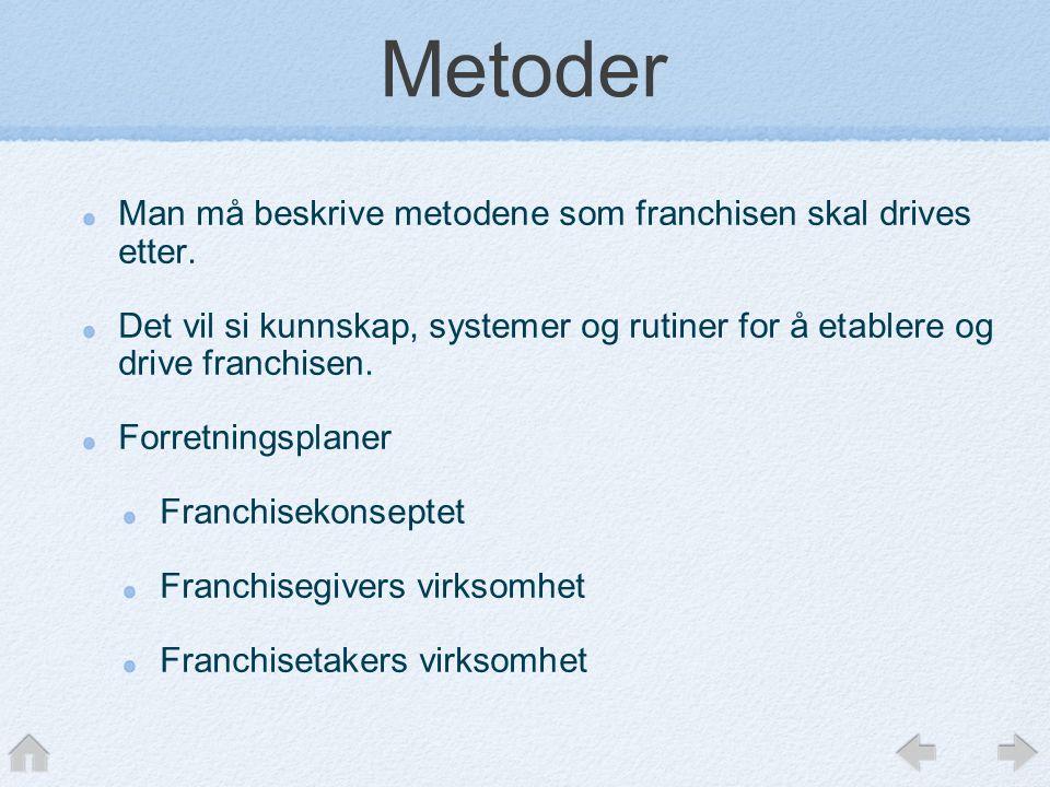 Metoder Man må beskrive metodene som franchisen skal drives etter. Det vil si kunnskap, systemer og rutiner for å etablere og drive franchisen. Forret