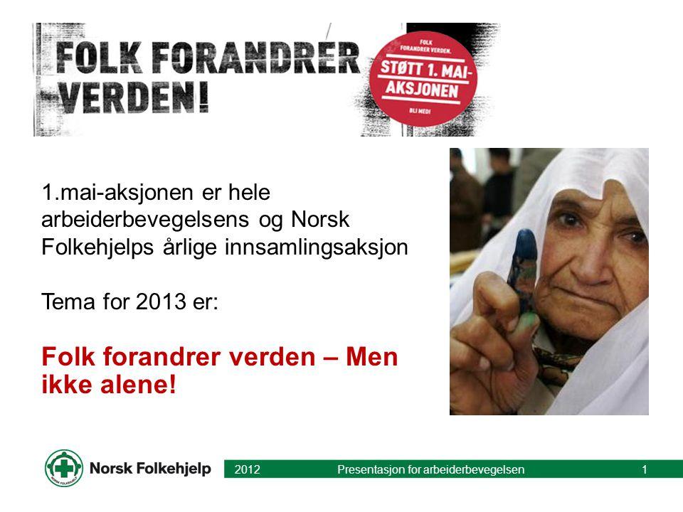 1.mai-aksjonen er hele arbeiderbevegelsens og Norsk Folkehjelps årlige innsamlingsaksjon Tema for 2013 er: Folk forandrer verden – Men ikke alene! 201