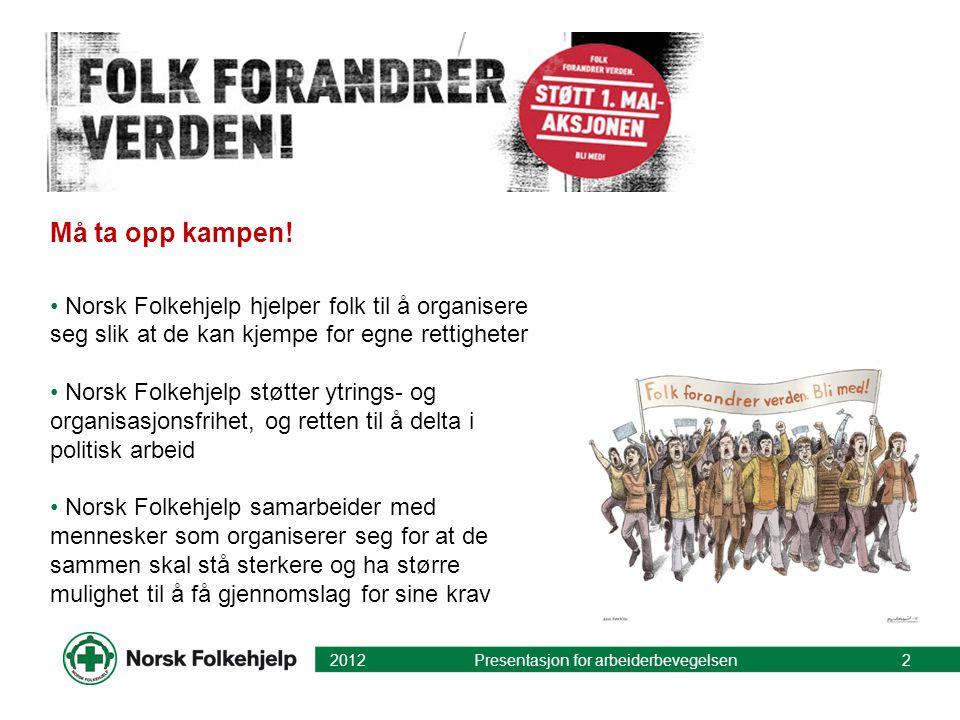 Må ta opp kampen! • Norsk Folkehjelp hjelper folk til å organisere seg slik at de kan kjempe for egne rettigheter • Norsk Folkehjelp støtter ytrings-