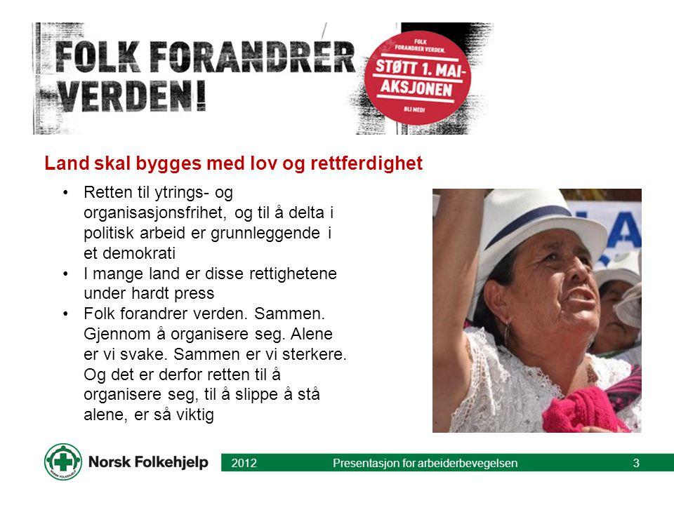 Land skal bygges med lov og rettferdighet 2012 Presentasjon for arbeiderbevegelsen3 •Retten til ytrings- og organisasjonsfrihet, og til å delta i poli