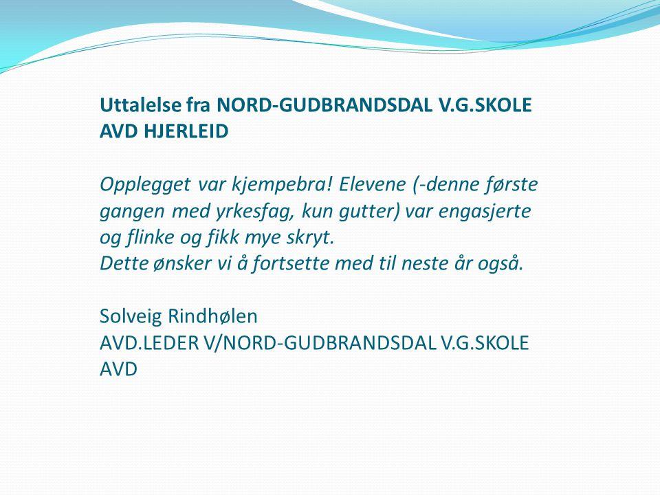 Uttalelse fra NORD-GUDBRANDSDAL V.G.SKOLE AVD HJERLEID Opplegget var kjempebra! Elevene (-denne første gangen med yrkesfag, kun gutter) var engasjerte