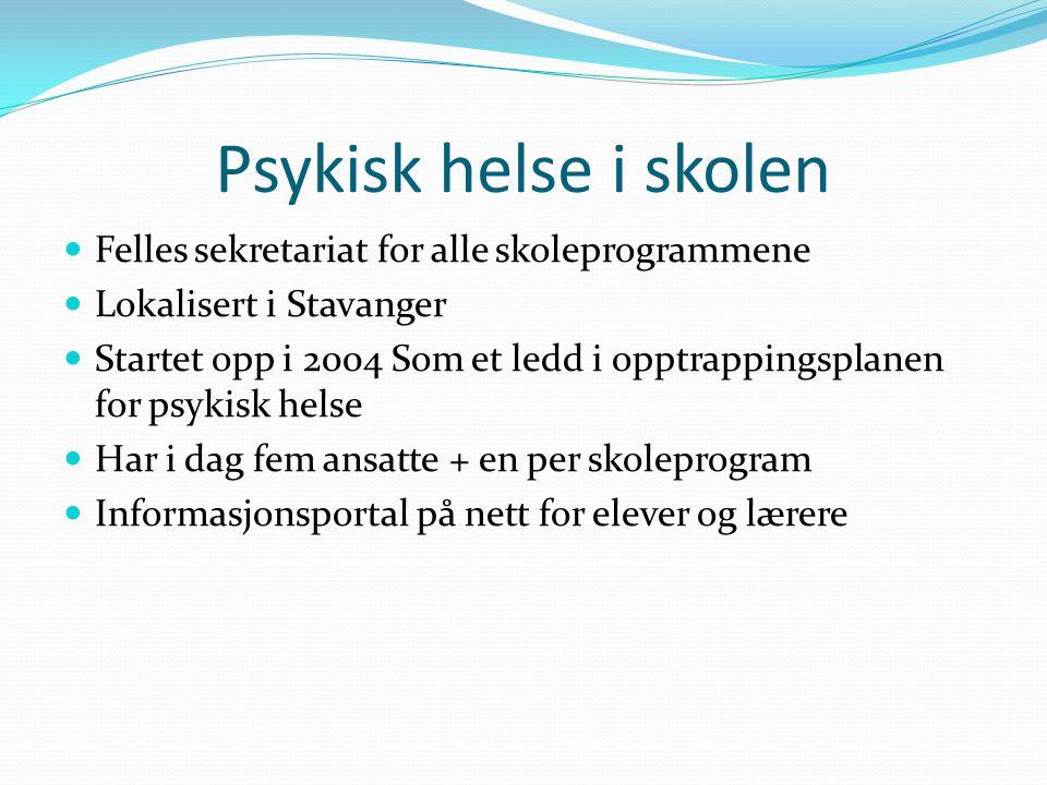 Psykisk helse i skolen  Felles sekretariat for alle skoleprogrammene  Lokalisert i Stavanger  Startet opp i 2004 Som et ledd i opptrappingsplanen f