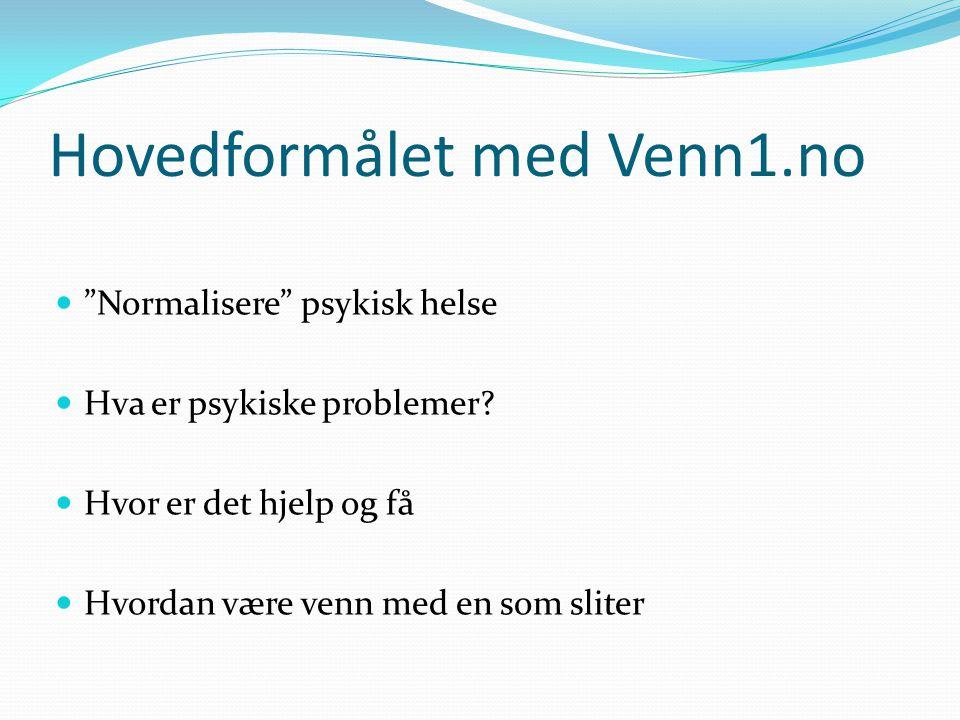 """Hovedformålet med Venn1.no  """"Normalisere"""" psykisk helse  Hva er psykiske problemer?  Hvor er det hjelp og få  Hvordan være venn med en som sliter"""