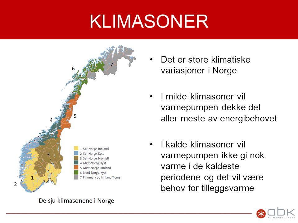 KLIMASONER •Det er store klimatiske variasjoner i Norge •I milde klimasoner vil varmepumpen dekke det aller meste av energibehovet •I kalde klimasoner vil varmepumpen ikke gi nok varme i de kaldeste periodene og det vil være behov for tilleggsvarme