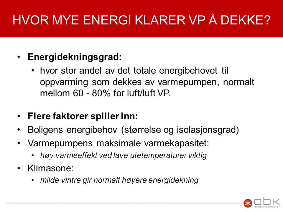 HVOR MYE ENERGI KLARER VP Å DEKKE.