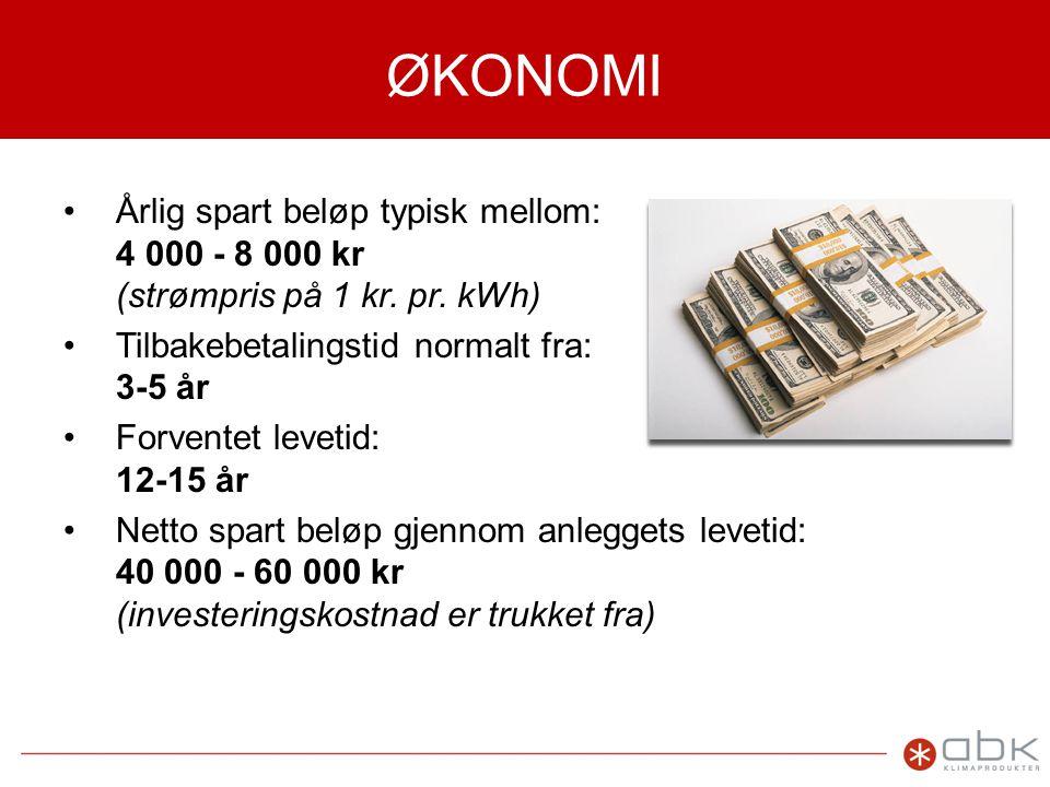 ØKONOMI •Årlig spart beløp typisk mellom: 4 000 - 8 000 kr (strømpris på 1 kr.