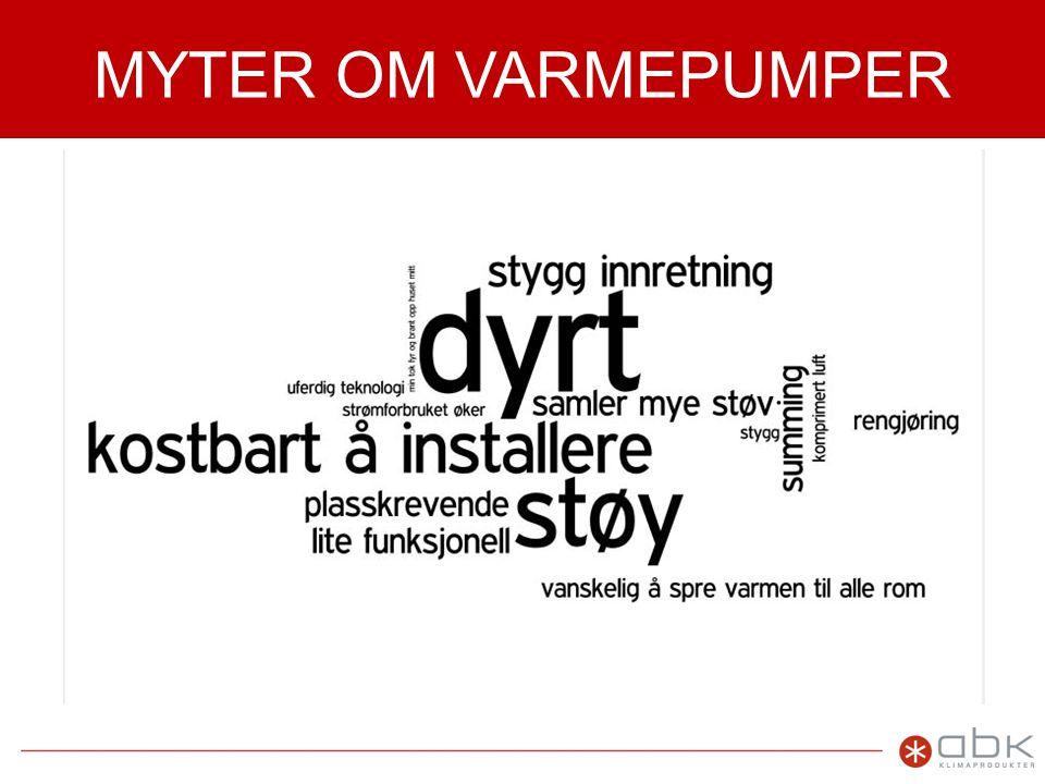 VARMEPUMPER I NORSK KLIMA •Norsk klima er meget godt egnet for varmepumper med relativt milde vintre og lang fyringssesong •Stort boligareal og energibehov pr.