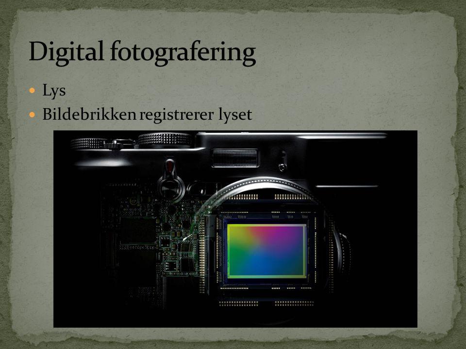  Kamera registrerer data og bearbeider det  Kamera redigerer data; RAW  JPG  Manuell redigering data; RAW  RAW / Råfil  Digitale bilder er uten unntak redigerte.