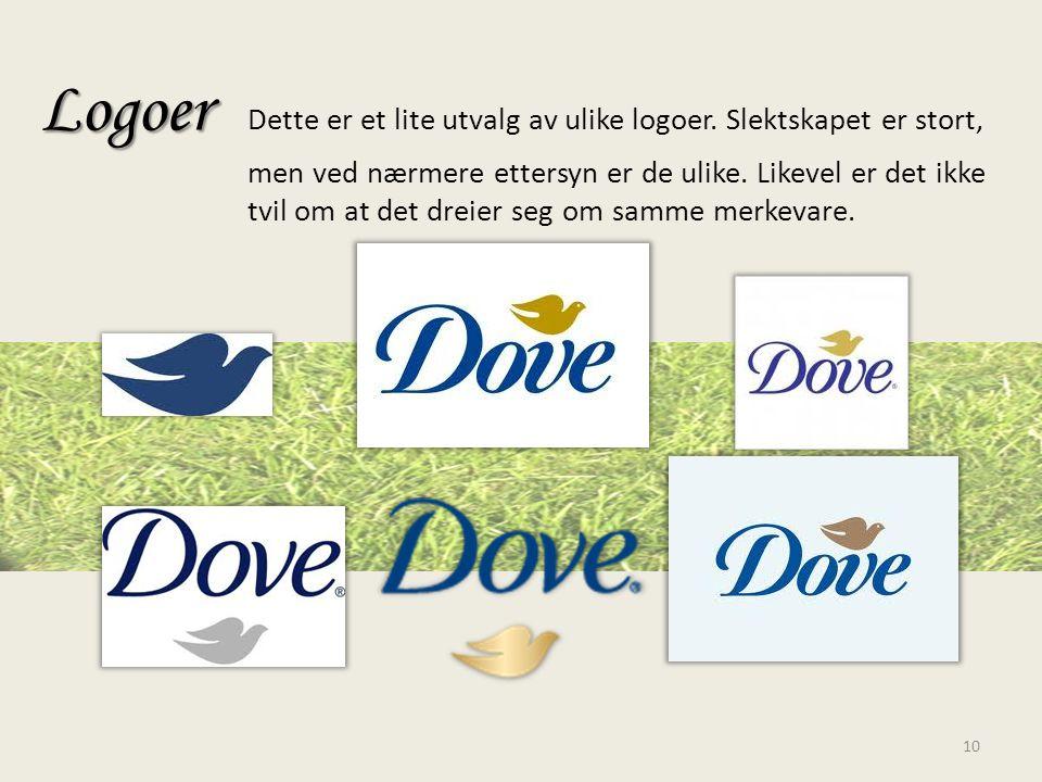 Logoer Logoer Dette er et lite utvalg av ulike logoer. Slektskapet er stort, men ved nærmere ettersyn er de ulike. Likevel er det ikke tvil om at det