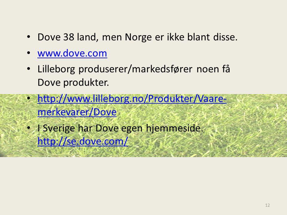 • Dove 38 land, men Norge er ikke blant disse. • www.dove.com www.dove.com • Lilleborg produserer/markedsfører noen få Dove produkter. • http://www.li