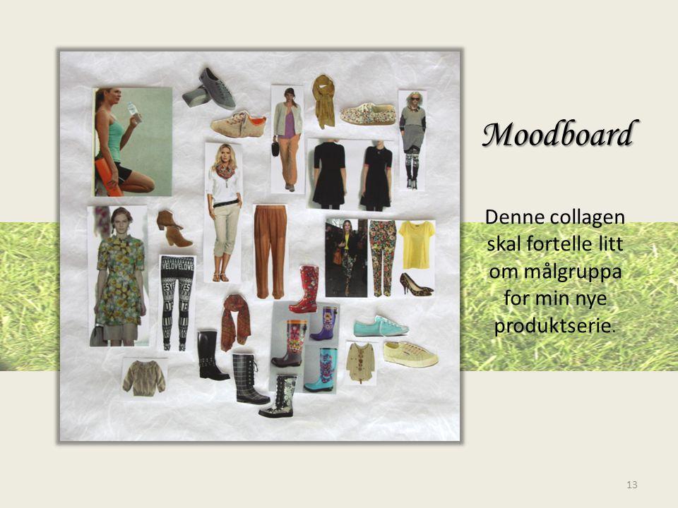 Moodboard Moodboard Denne collagen skal fortelle litt om målgruppa for min nye produktserie. 13