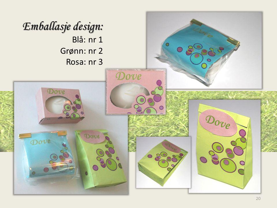 Emballasje design: Emballasje design: Blå: nr 1 Grønn: nr 2 Rosa: nr 3 20