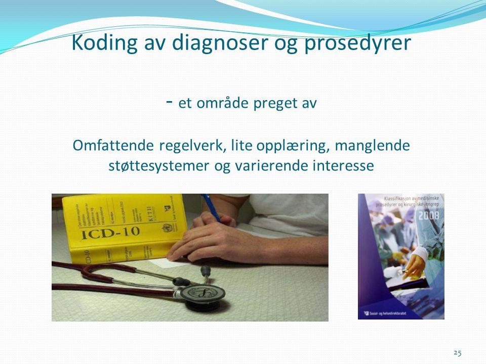 Koding av diagnoser og prosedyrer - et område preget av Omfattende regelverk, lite opplæring, manglende støttesystemer og varierende interesse 25