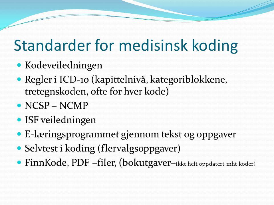 Standarder for medisinsk koding  Kodeveiledningen  Regler i ICD-10 (kapittelnivå, kategoriblokkene, tretegnskoden, ofte for hver kode)  NCSP – NCMP  ISF veiledningen  E-læringsprogrammet gjennom tekst og oppgaver  Selvtest i koding (flervalgsoppgaver)  FinnKode, PDF –filer, (bokutgaver– ikke helt oppdatert mht koder)