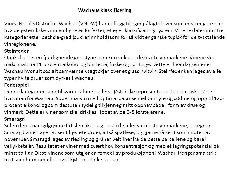 Wachaus klassifisering Vinea Nobilis Districtus Wachau (VNDW) har i tillegg til egenpålagte lover som er strengere enn hva de østerrikske vinmyndighet