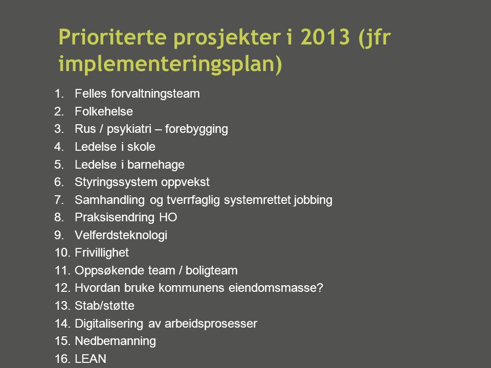 Prioriterte prosjekter i 2013 (jfr implementeringsplan) 1.Felles forvaltningsteam 2.Folkehelse 3.Rus / psykiatri – forebygging 4.Ledelse i skole 5.Led