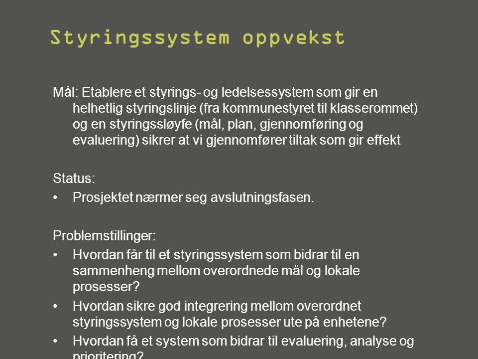 Styringssystem oppvekst Mål: Etablere et styrings- og ledelsessystem som gir en helhetlig styringslinje (fra kommunestyret til klasserommet) og en sty