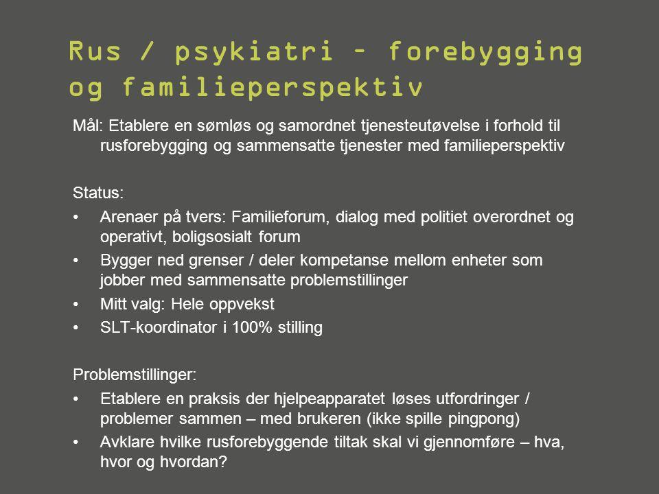 Rus / psykiatri – forebygging og familieperspektiv Mål: Etablere en sømløs og samordnet tjenesteutøvelse i forhold til rusforebygging og sammensatte t