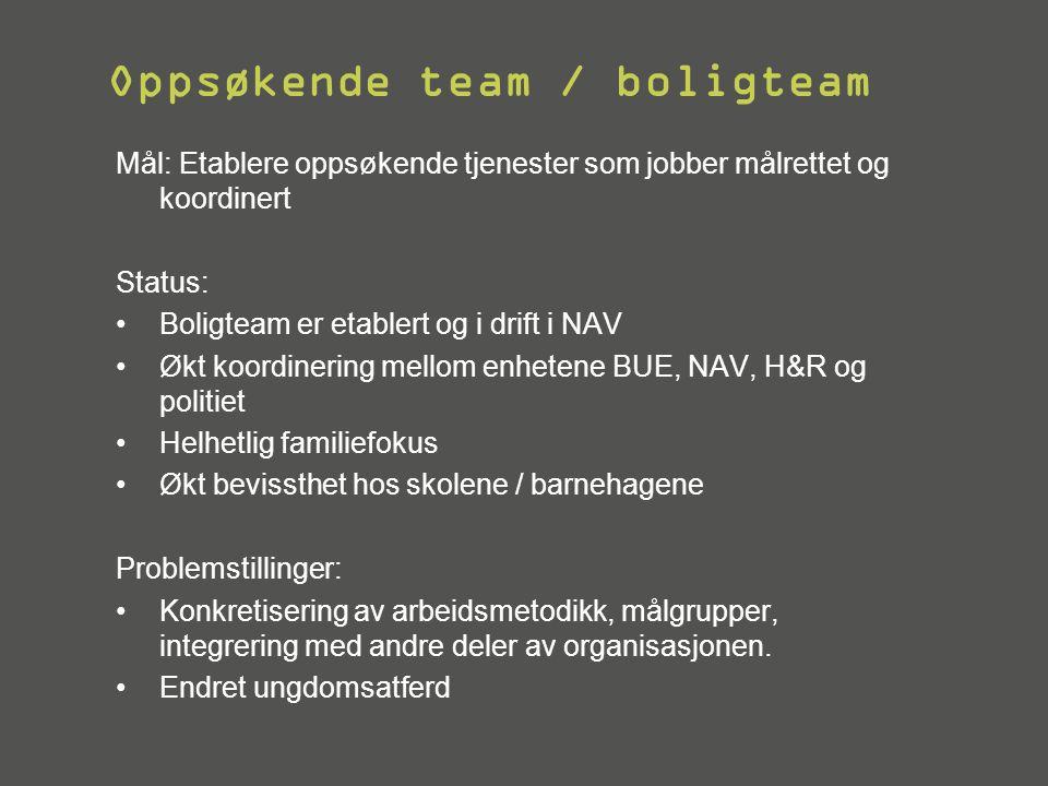 Oppsøkende team / boligteam Mål: Etablere oppsøkende tjenester som jobber målrettet og koordinert Status: •Boligteam er etablert og i drift i NAV •Økt