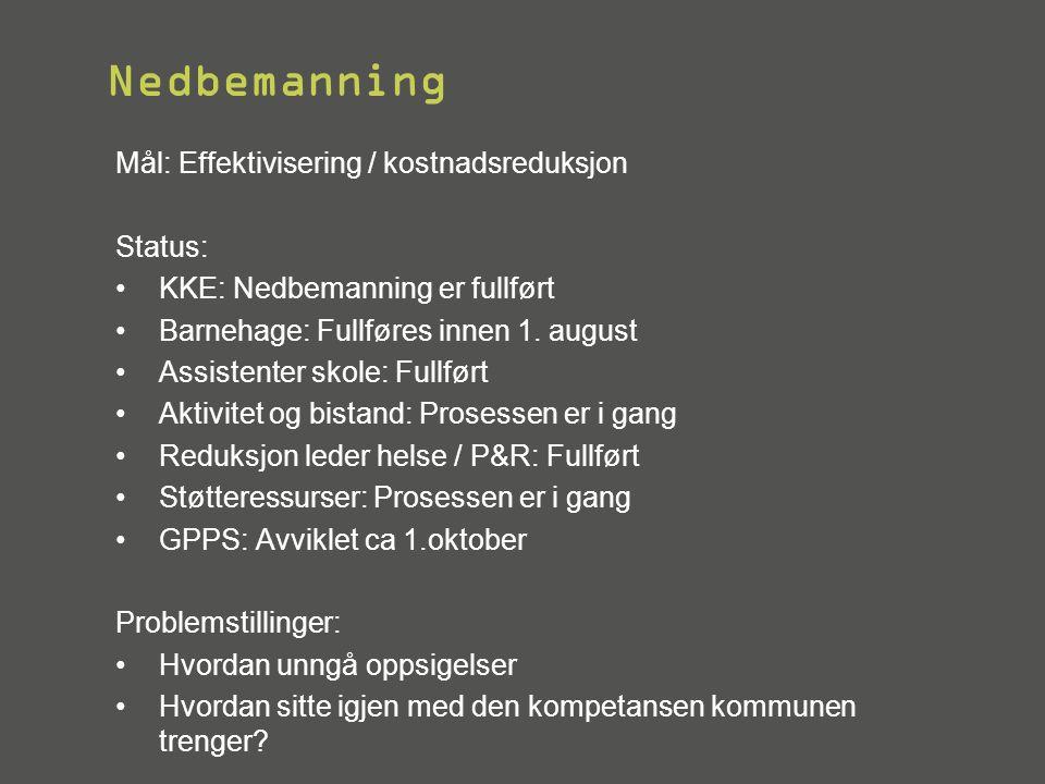 Nedbemanning Mål: Effektivisering / kostnadsreduksjon Status: •KKE: Nedbemanning er fullført •Barnehage: Fullføres innen 1. august •Assistenter skole: