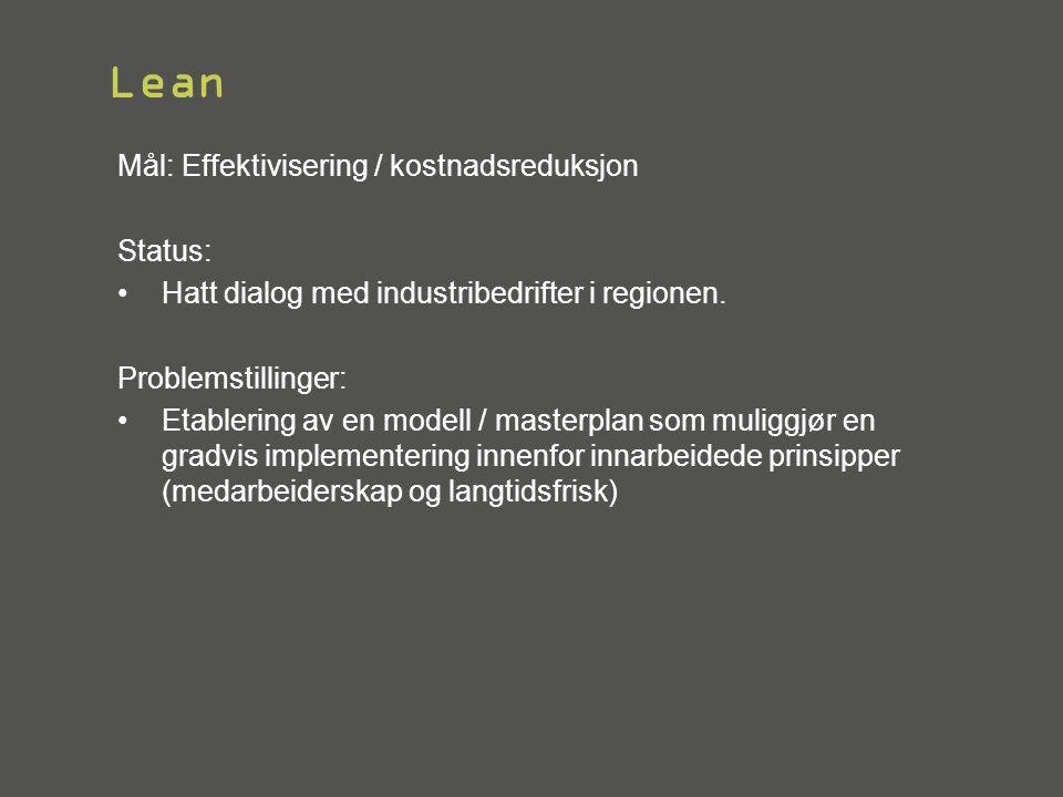 Lean Mål: Effektivisering / kostnadsreduksjon Status: •Hatt dialog med industribedrifter i regionen. Problemstillinger: •Etablering av en modell / mas