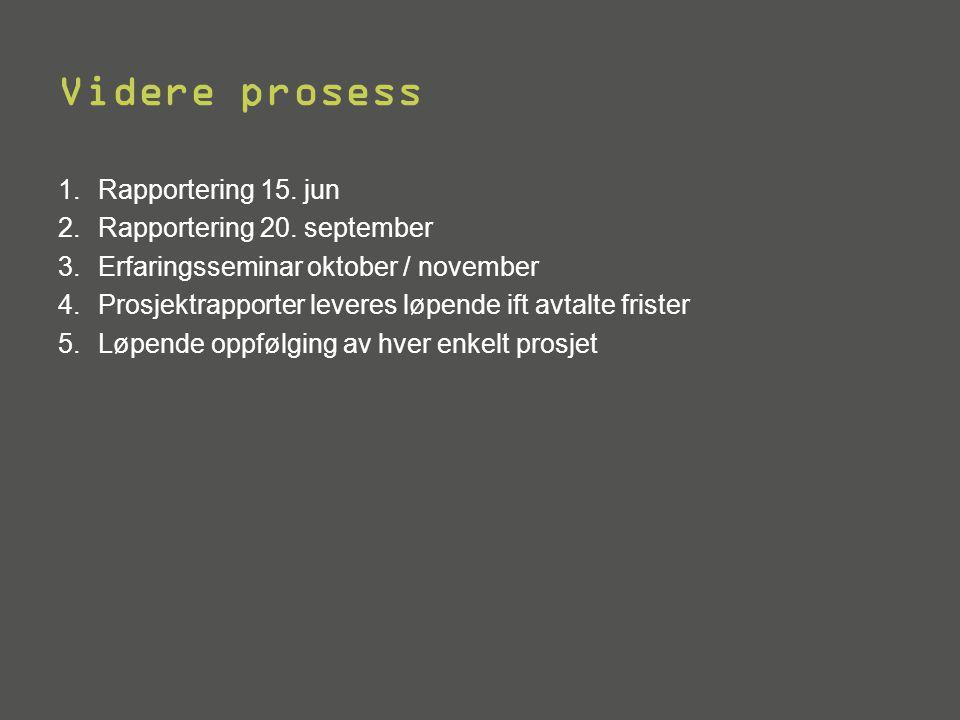 Videre prosess 1.Rapportering 15. jun 2.Rapportering 20. september 3.Erfaringsseminar oktober / november 4.Prosjektrapporter leveres løpende ift avtal
