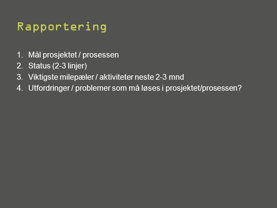 Rapportering 1.Mål prosjektet / prosessen 2.Status (2-3 linjer) 3.Viktigste milepæler / aktiviteter neste 2-3 mnd 4.Utfordringer / problemer som må lø