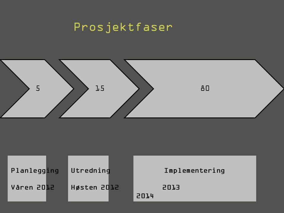 51580 Prosjektfaser Planlegging Våren 2012 Utredning Høsten 2012 Implementering 2013 2014