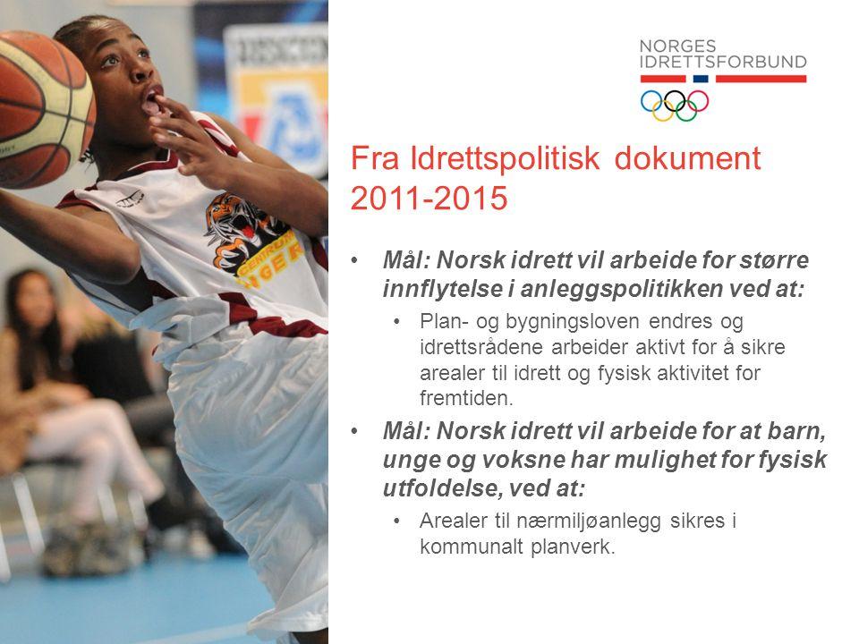 Fra Idrettspolitisk dokument 2011-2015 •Mål: Norsk idrett vil arbeide for større innflytelse i anleggspolitikken ved at: •Plan- og bygningsloven endre