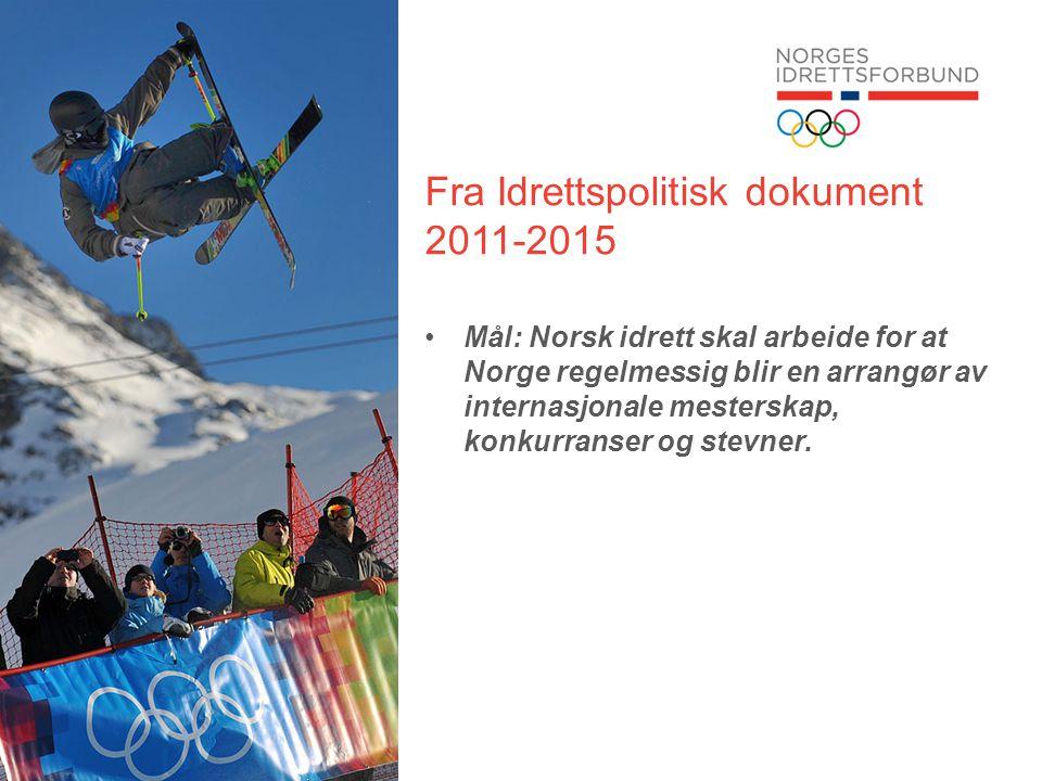 Fra Idrettspolitisk dokument 2011-2015 •Mål: Norsk idrett skal arbeide for at Norge regelmessig blir en arrangør av internasjonale mesterskap, konkurranser og stevner.