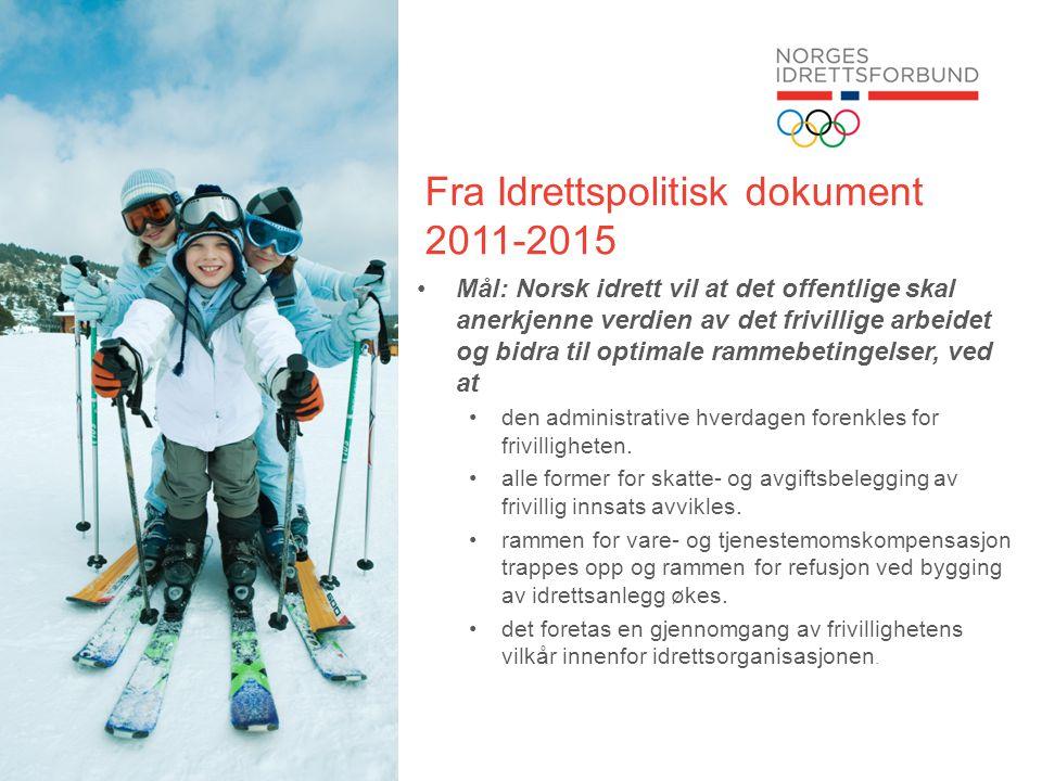 Fra Idrettspolitisk dokument 2011-2015 •Mål: Norsk idrett vil at det offentlige skal anerkjenne verdien av det frivillige arbeidet og bidra til optima