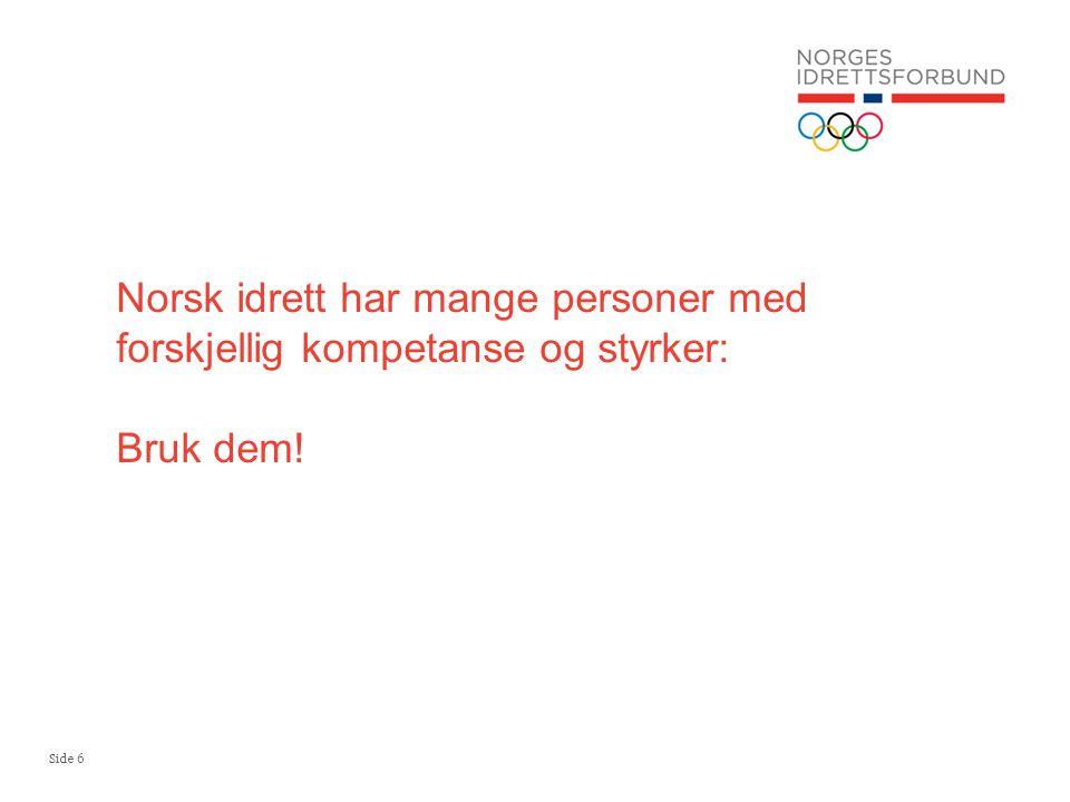 Side 6 Norsk idrett har mange personer med forskjellig kompetanse og styrker: Bruk dem!