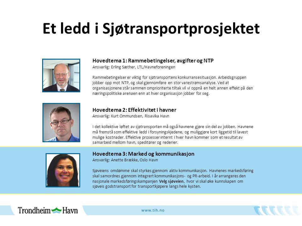 Et ledd i Sjøtransportprosjektet Hovedtema 1: Rammebetingelser, avgifter og NTP Ansvarlig: Erling Sæther, LTL/Havneforeningen Rammebetingelser er viktig for sjøtransportens konkurransesituasjon.