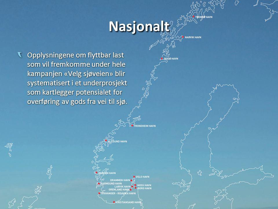 Nasjonalt Opplysningene om flyttbar last som vil fremkomme under hele kampanjen «Velg sjøveien» blir systematisert i et underprosjekt som kartlegger potensialet for overføring av gods fra vei til sjø.