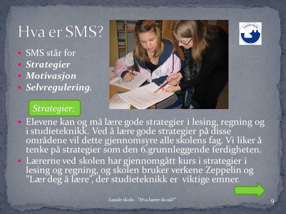  SMS står for  Strategier  Motivasjon  Selvregulering.  Elevene kan og må lære gode strategier i lesing, regning og i studieteknikk. Ved å lære g