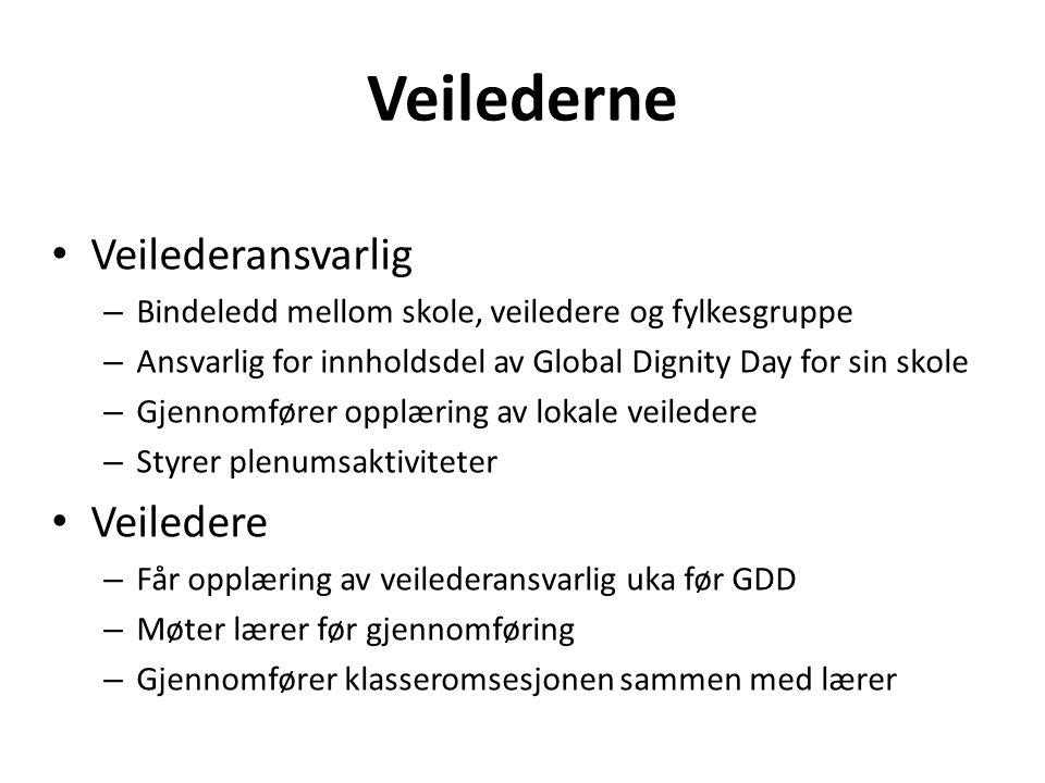Veilederne • Veilederansvarlig – Bindeledd mellom skole, veiledere og fylkesgruppe – Ansvarlig for innholdsdel av Global Dignity Day for sin skole – G