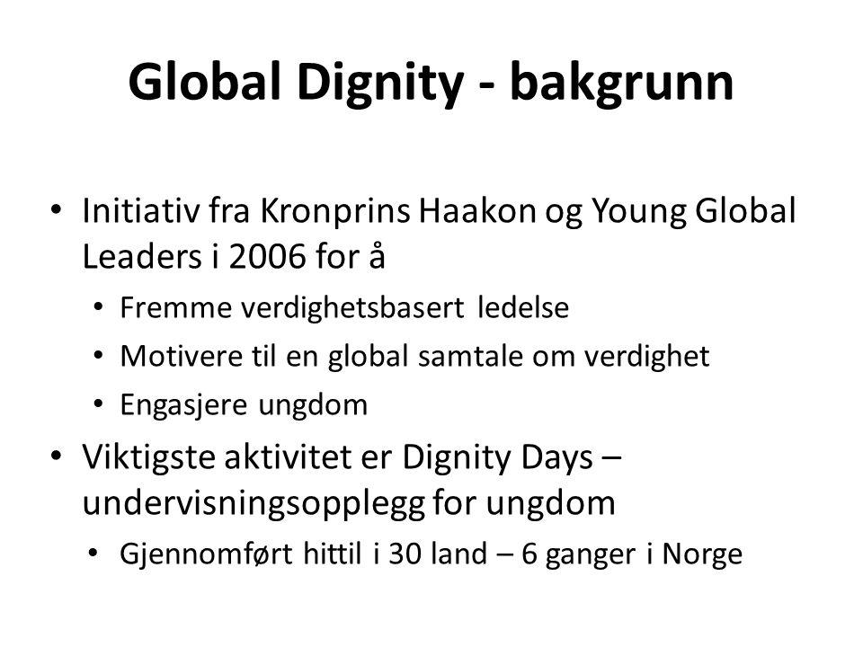 Global Dignity - bakgrunn • Initiativ fra Kronprins Haakon og Young Global Leaders i 2006 for å • Fremme verdighetsbasert ledelse • Motivere til en global samtale om verdighet • Engasjere ungdom • Viktigste aktivitet er Dignity Days – undervisningsopplegg for ungdom • Gjennomført hittil i 30 land – 6 ganger i Norge