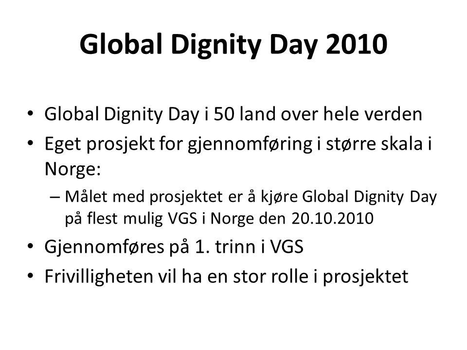 Global Dignity Day 2010 • Global Dignity Day i 50 land over hele verden • Eget prosjekt for gjennomføring i større skala i Norge: – Målet med prosjektet er å kjøre Global Dignity Day på flest mulig VGS i Norge den 20.10.2010 • Gjennomføres på 1.