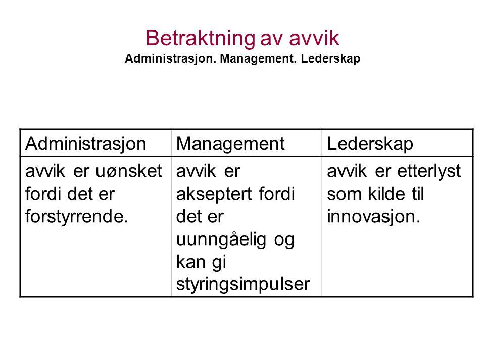 Betraktning av avvik Administrasjon. Management. Lederskap AdministrasjonManagementLederskap avvik er uønsket fordi det er forstyrrende. avvik er akse