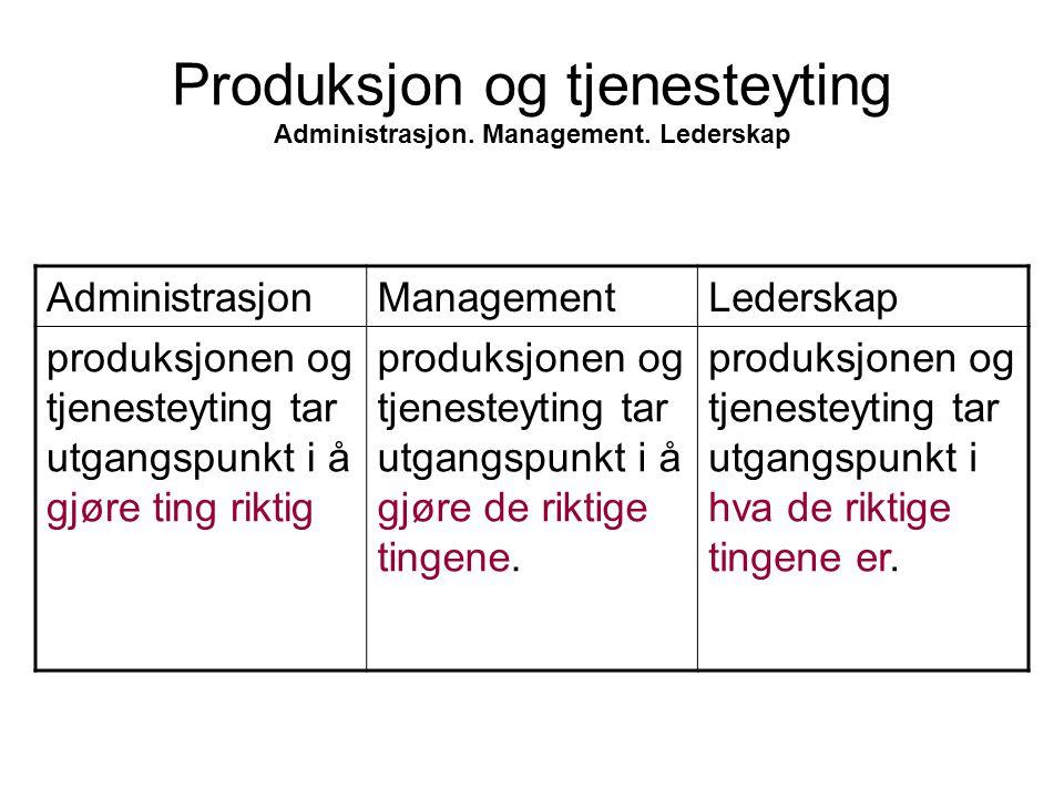 Produksjon og tjenesteyting Administrasjon. Management. Lederskap AdministrasjonManagementLederskap produksjonen og tjenesteyting tar utgangspunkt i å
