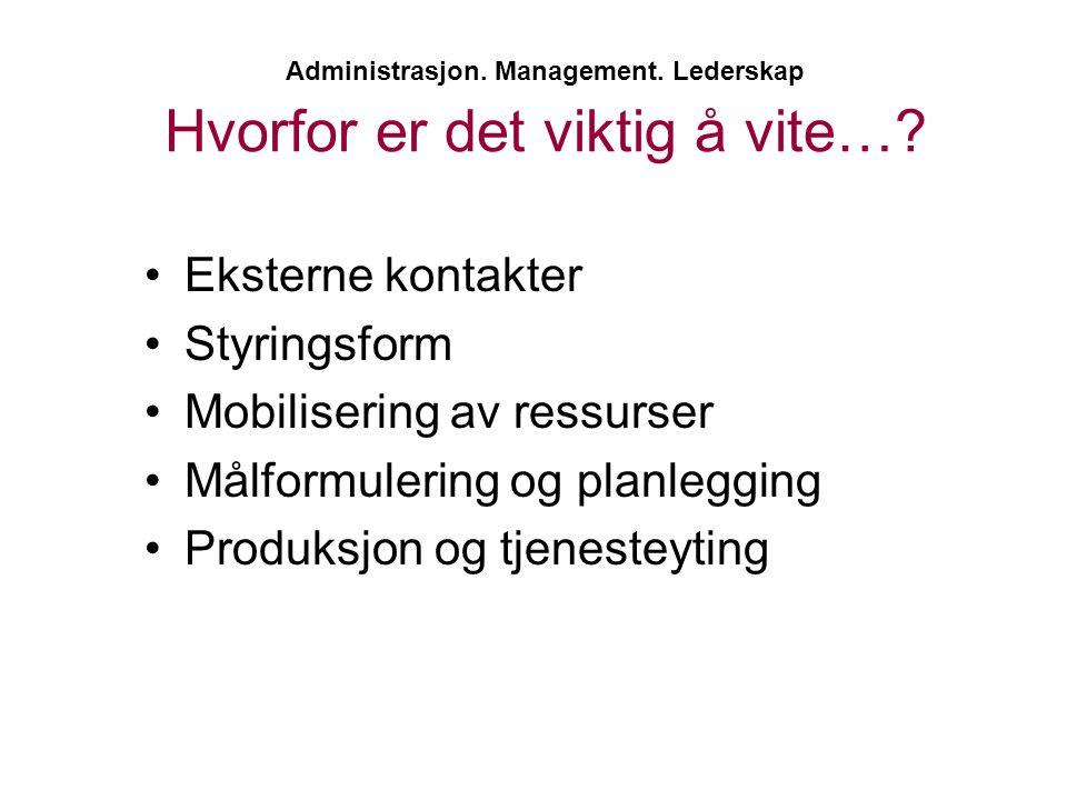 Administrasjon. Management. Lederskap Hvorfor er det viktig å vite…? •Eksterne kontakter •Styringsform •Mobilisering av ressurser •Målformulering og p