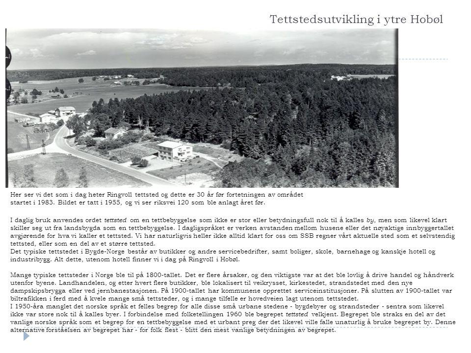 Tettstedsutvikling i ytre Hobøl Her ser vi det som i dag heter Ringvoll tettsted og dette er 30 år før fortetningen av området startet i 1983. Bildet