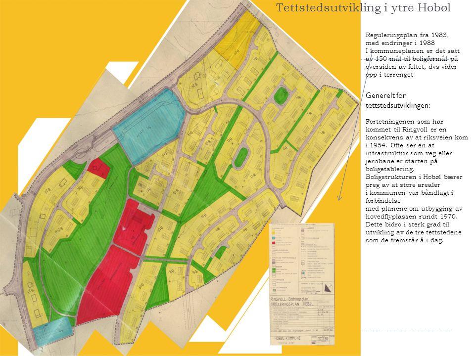 Reguleringsplan fra 1983, med endringer i 1988 I kommuneplanen er det satt av 150 mål til boligformål på oversiden av feltet, dvs vider opp i terrenge