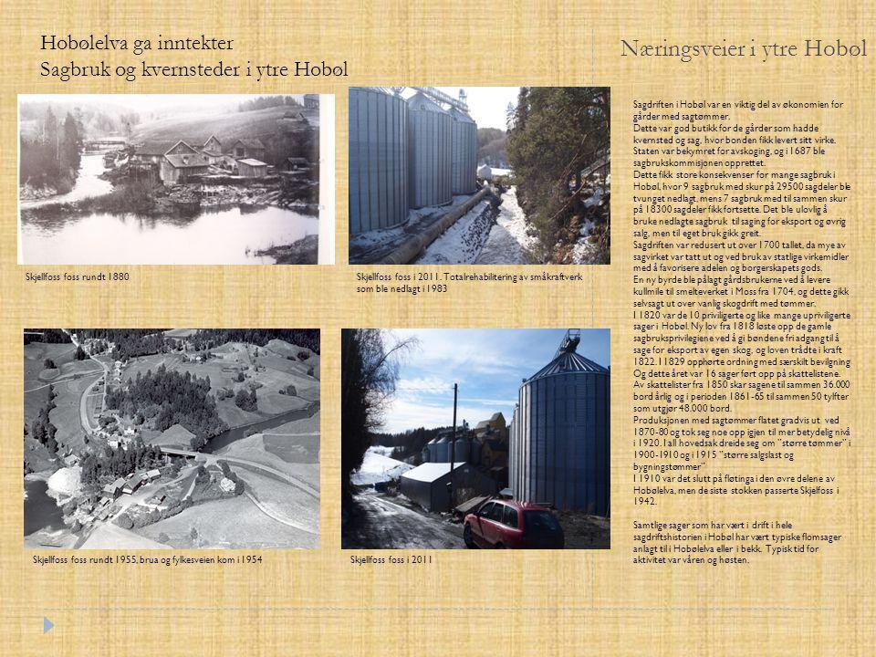 Næringsveier i ytre Hobøl Skjellfoss foss rundt 1880 Hobølelva ga inntekter Sagbruk og kvernsteder i ytre Hobøl Skjellfoss foss rundt 1955, brua og fy